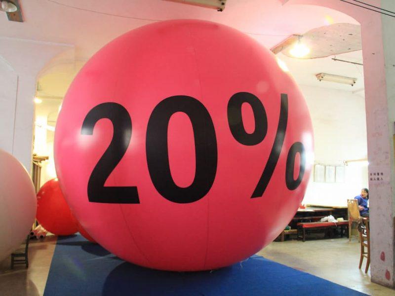 20% pink balloon